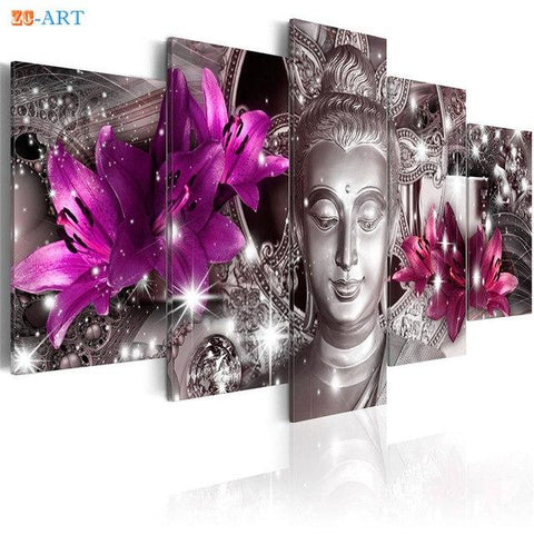 Buddha Canvas Wall Art - Flowers Prints Buddha Statue  Canvas Art 5 Pieces For Living Room Home Decor
