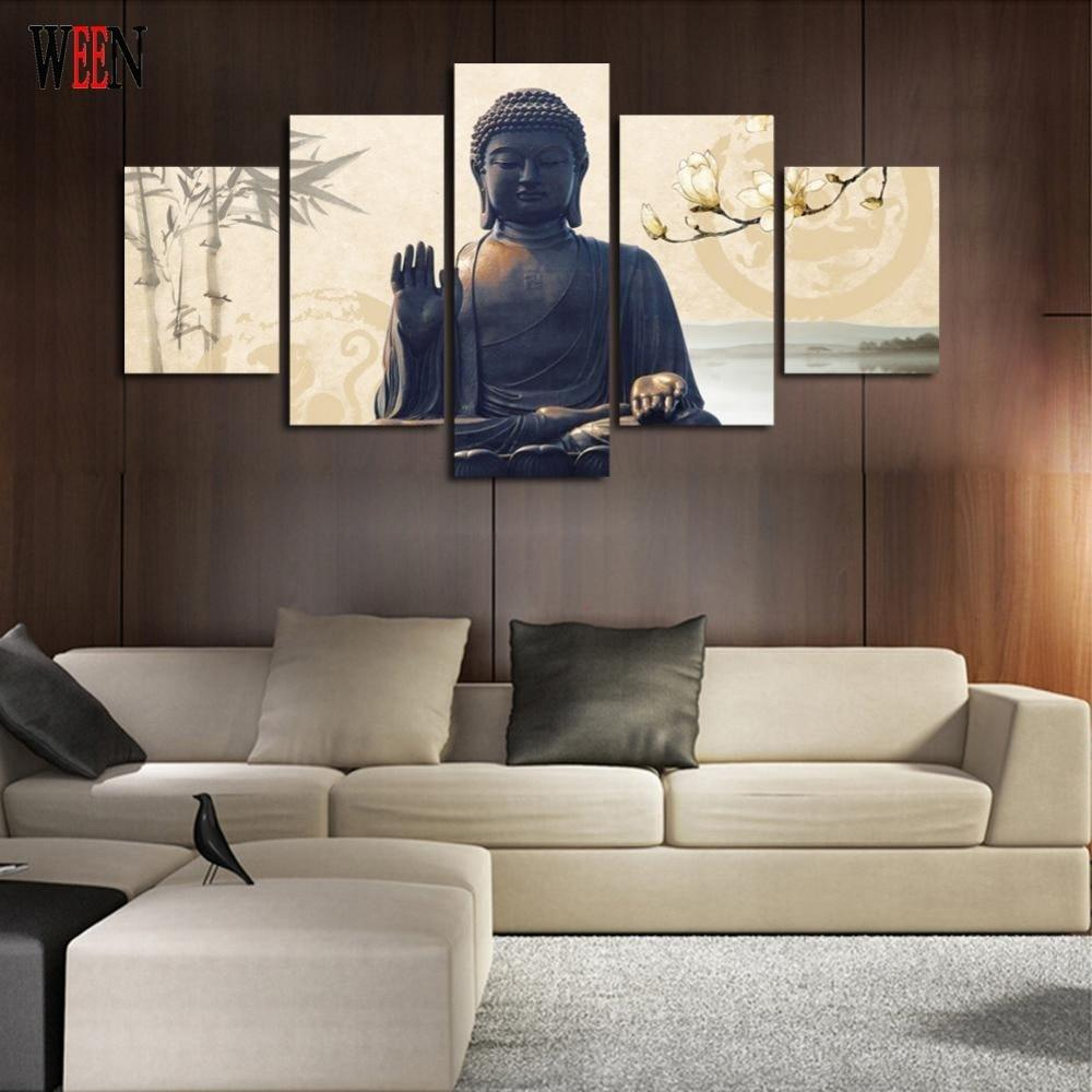 Large 5 piece buddha canvas art with frame
