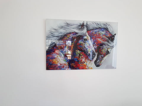 Canvas Wall Art 2 - Acrylic Wall Art Contemporary, Fine Art Galloping Mother And Foal Horses