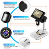 Image of Digital Microscope USB 4.3 inch LCD display, Zoom 1000X magnification, and adjustable high brightness 8 white LEDs