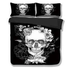 Duvet Covers - 3D Skull Bedding Set Black And White Duvet Covers For King/Queen Size Bed Europe Style Sugar Skull Bed Set Sheet Duvet Cover