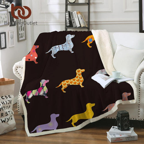 Duvet Covers - Dachshund Sausage Sherpa Blanket For Kids Adults Cartoon Colorful Plush Throw Blanket Sofa Dog Puppy Thin Quilt