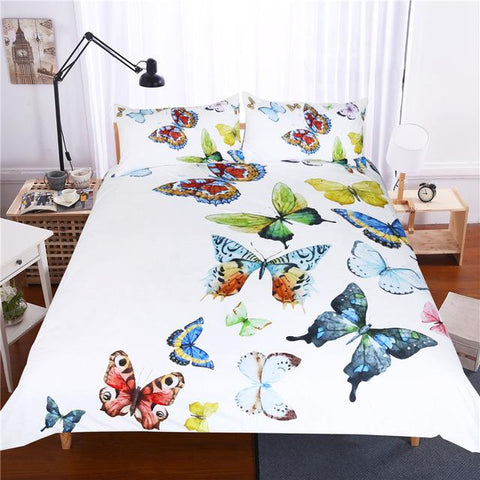 Duvet Covers - Flying Butterflies Duvet Cover Set Butterfly Collection Bedding Set Hypoallergenic Soft Bed Cover Set