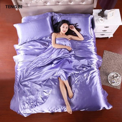 Duvet Covers - HOT! 100% Pure Satin Silk Bedding Set,Home Textile King Size Bed Set,bedclothes,duvet Cover Flat Sheet Pillowcases
