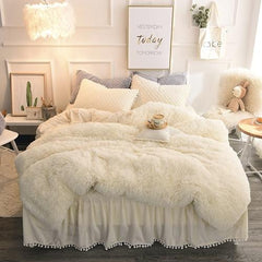 Luxury Fluffy Plush Shaggy Duvet Cover Set Quilted Pompoms Fringe Ruffles