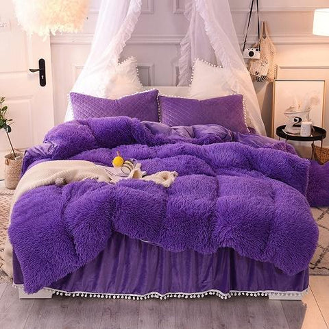 Duvet Covers - Luxury Fluffy Plush Shaggy Duvet Cover Set Quilted Pompoms Fringe Ruffles