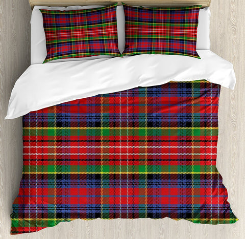 Duvet Covers - Plaid Caledonia Scottish Traditional Pattern Tartan Motif Abstract Squares Ornate Quilt Cover Decor 4pcs Bedding Set