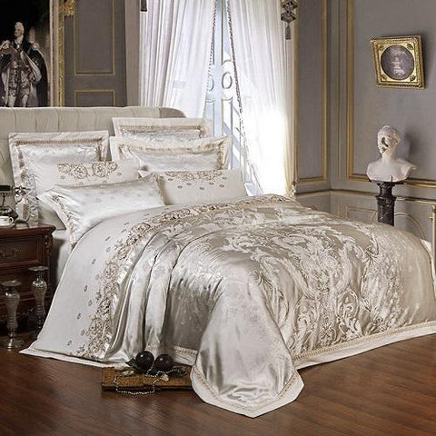 Duvet Covers - Sliver Golden Luxury Satin Jacquard Bedding Sets Embroidery Bed Set Double Queen King Size Duvet Cover Bed Sheet Set Pillowcase
