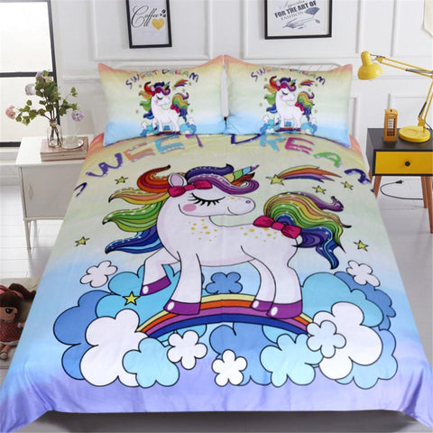 Duvet Covers - Unicorn Bedding Set Sweet Dream For Kids Girls 3pcs Colorful Bedclothes