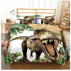 Kids Duvet Cover Sets - Kids Dinosaur T-Rex Doona Bed Cover Duvet Set