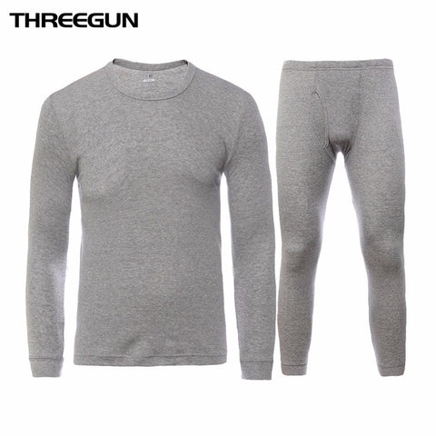 Long Johns - 100% Cotton Winter Round Neck Warm Long Johns Set For Men