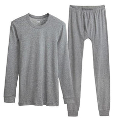 100% Cotton Winter Round Neck Warm Long Johns Set For Men