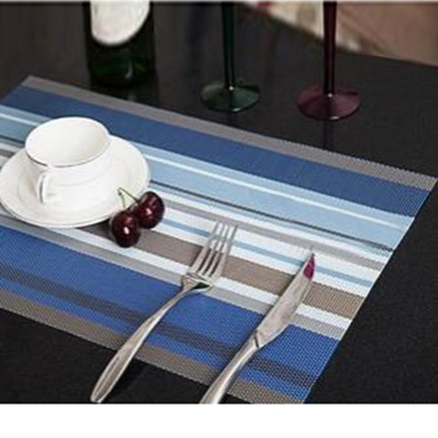 Place Mat - Place Mat Waterproof Easy Clean Pad Dining Place-mats Stripe Table-mat Coasters Table Decoration