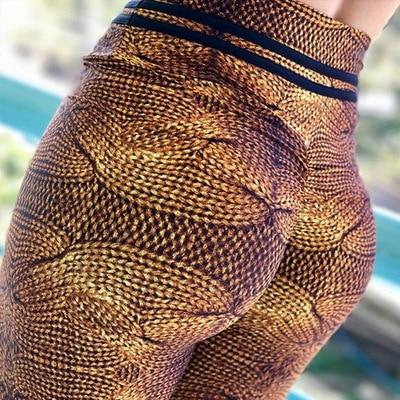 Ruched Leggings - 2018 New Knit Printing Leggings Knit Colorful String Pants Sports Fitness Leggings