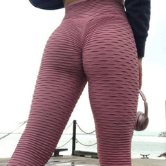 Ruched Leggings - Women Pink High Waist Fitness Breathable Leggings