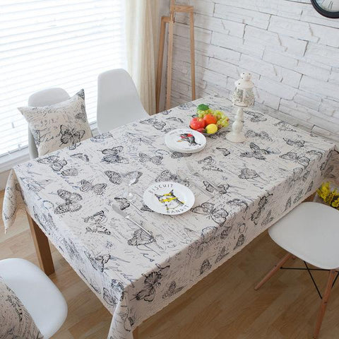 Tablecloth - Butterfly Print Decorative Table Cloth Cotton Line