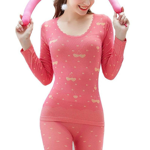 Thermal Underware - Lovely Printing Thermal Underwear Thin Women Winter Clothes Sexy Shape Long Johns