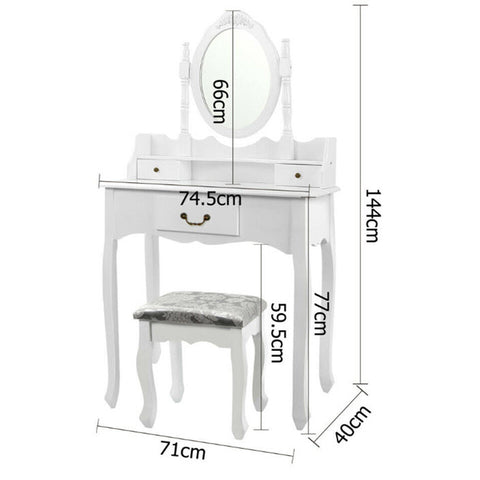 Dressing Table With Mirror 3 Drawers Makeup Vanity Desk Chair