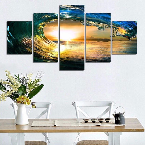 Wall Art - Large 5 Piece Beach Sunset Sea Ocean Wave Canvas Wall Art For Living Room (Ready To Be Hung)