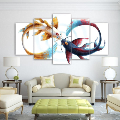 Wall Art - Large Koi Carp Canvas Print Wall Artwork (Ready To Be Hung)