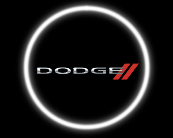 2 Wireless Led Laser Dodge Car Door Lights Car Logo Lights