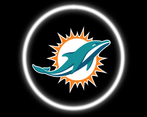 2 Wireless LED Laser Miami Dolphins Car Door Lights