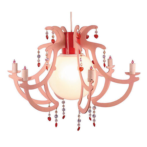 Chandelier, Pink, With Pearls
