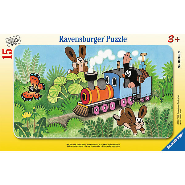 15 Piece Frame Jigsaw Puzzle: Little Mole Train Driver