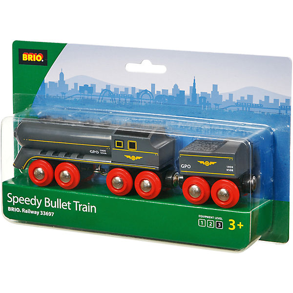 BRIO 33697 Black Speedy Bullet Train With Coal Tender Wagon