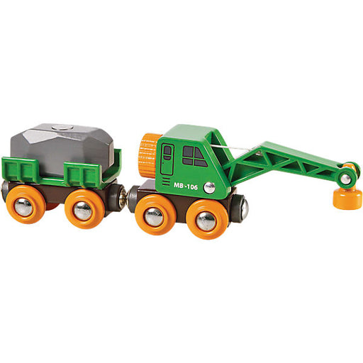 BRIO 33698 Green Clever Crane Wagon With Trailer And Freight