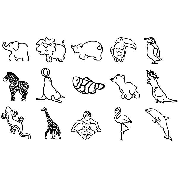Mini Zoo Stamp Set, 17 Pieces
