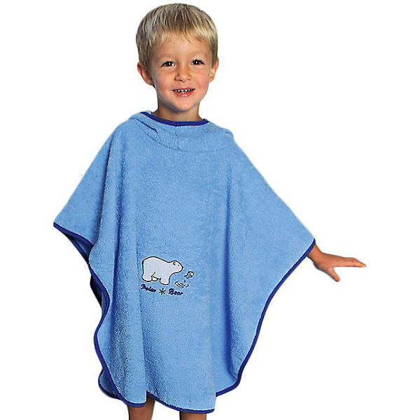 Bath Poncho, Polar Bear, Light Blue, 75 x 120 cm