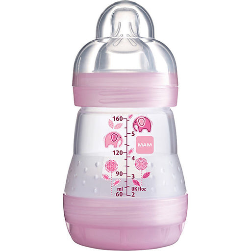 Wide-Necked Bottle, Anti-Colic, Girls, 160 ml, Nozzle Size 0