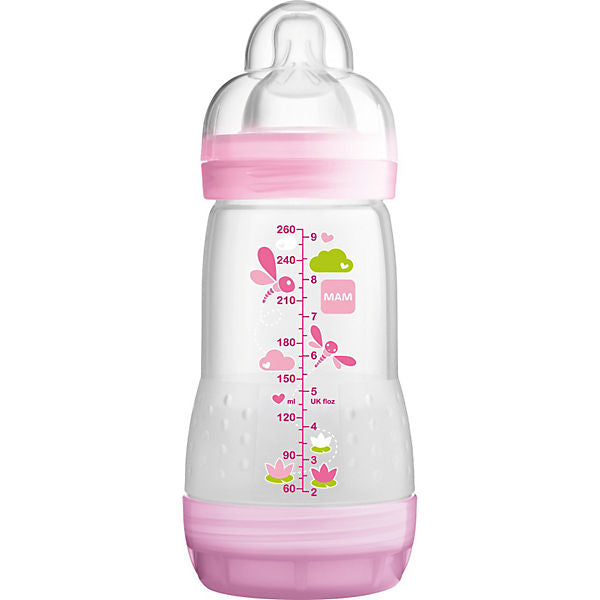 Wide-Necked Bottle, Anti-Colic, Girls, 260 ml, Size 1