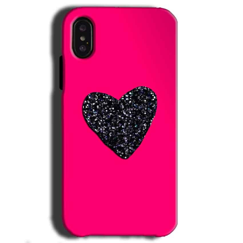 Apple iPhone X Mobile Covers Cases Pink Glitter Heart - Lowest Price - Paybydaddy.com