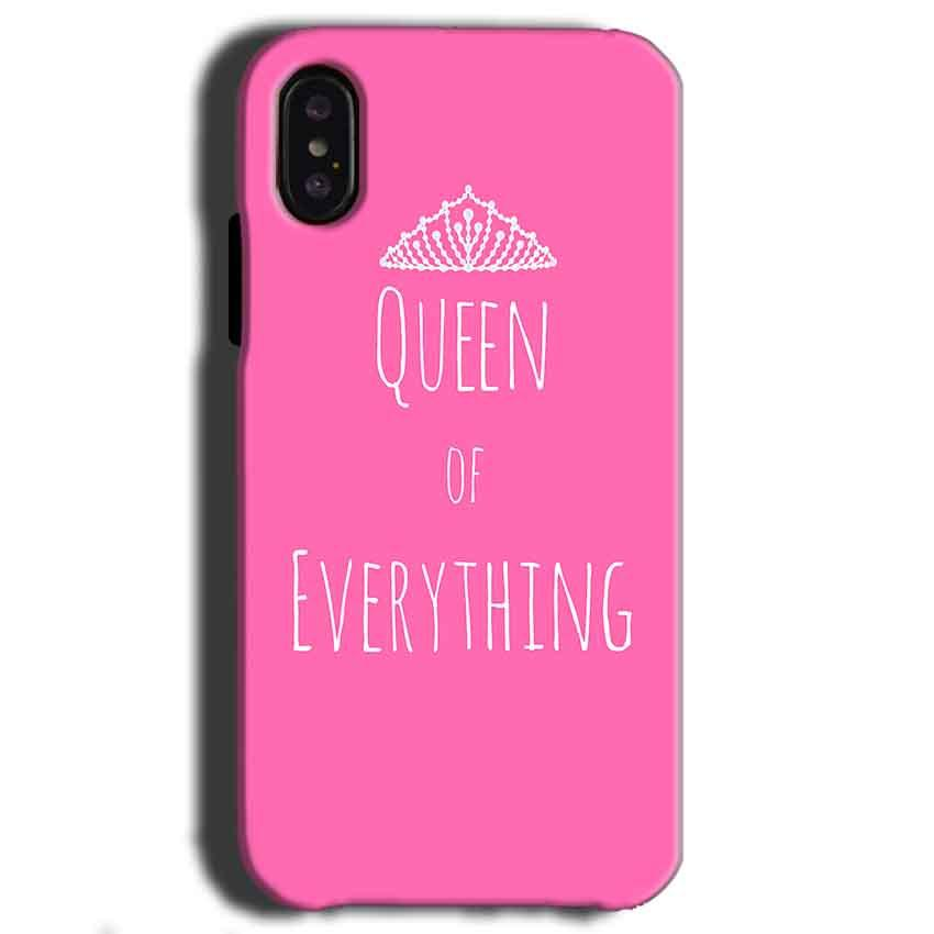 Apple iPhone X Mobile Covers Cases Queen Of Everything Pink White - Lowest Price - Paybydaddy.com