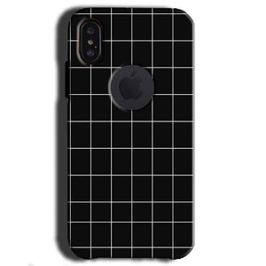 Apple iPhone X With Apple Cut Mobile Covers Cases Black with White Checks - Lowest Price - Paybydaddy.com