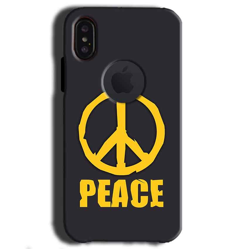 Apple iPhone X With Apple Cut Mobile Covers Cases Peace Blue Yellow - Lowest Price - Paybydaddy.com