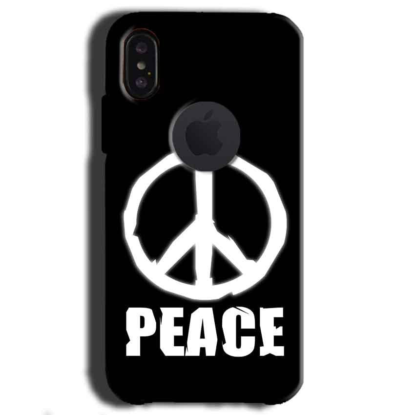 Apple iPhone X With Apple Cut Mobile Covers Cases Peace Sign In White - Lowest Price - Paybydaddy.com
