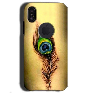 Apple iPhone X With Apple Cut Mobile Covers Cases Peacock coloured art - Lowest Price - Paybydaddy.com