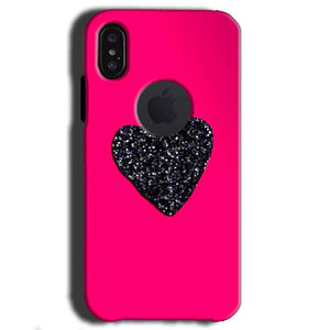 Apple iPhone X With Apple Cut Mobile Covers Cases Pink Glitter Heart - Lowest Price - Paybydaddy.com