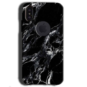 Apple iPhone X With Apple Cut Mobile Covers Cases Pure Black Marble Texture - Lowest Price - Paybydaddy.com