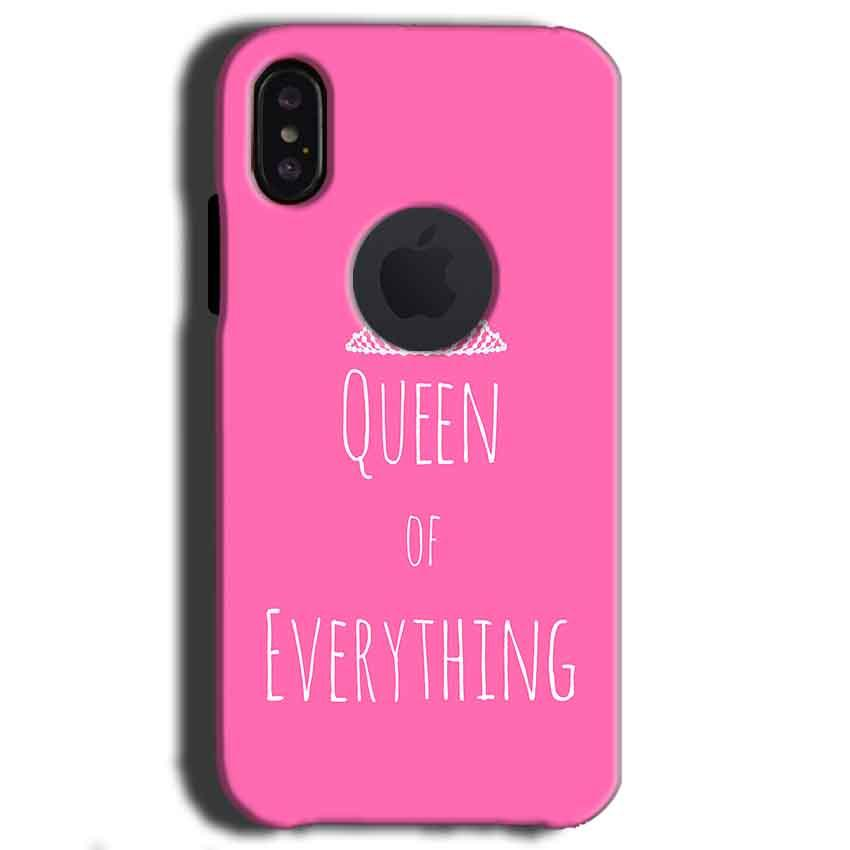 Apple iPhone X With Apple Cut Mobile Covers Cases Queen Of Everything Pink White - Lowest Price - Paybydaddy.com