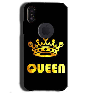 Apple iPhone X With Apple Cut Mobile Covers Cases Queen With Crown in gold - Lowest Price - Paybydaddy.com