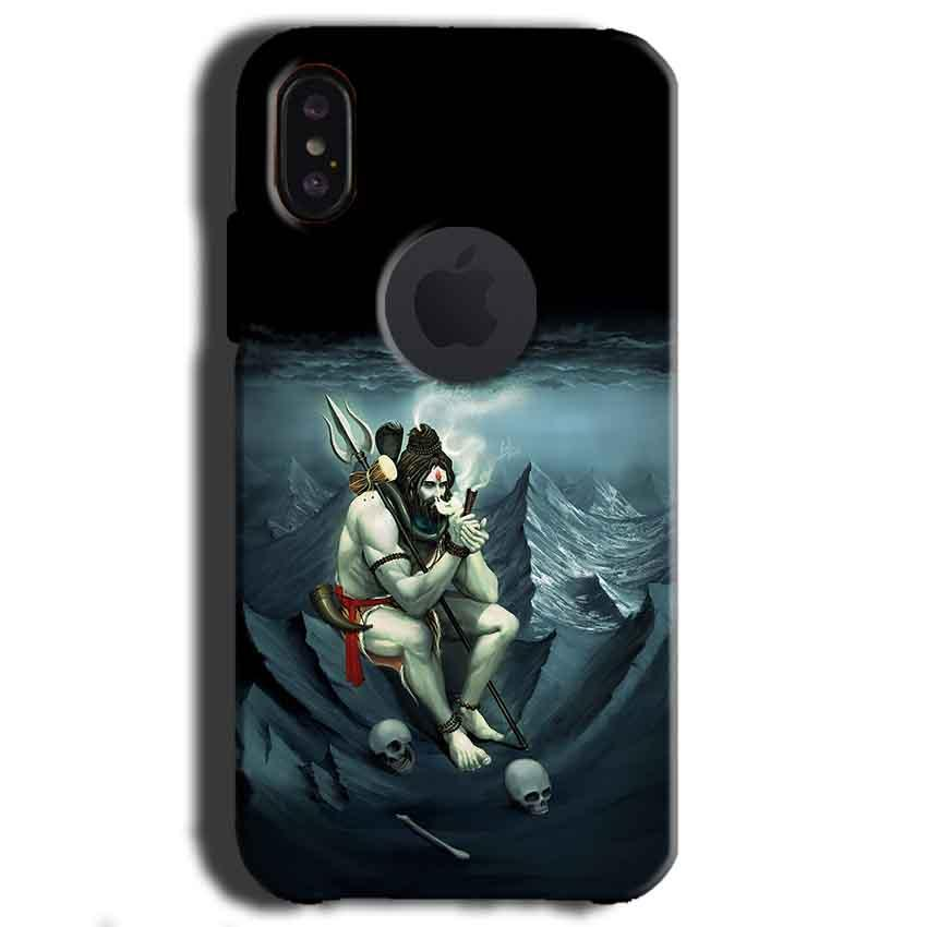 Apple iPhone X With Apple Cut Mobile Covers Cases Shiva Smoking - Lowest Price - Paybydaddy.com