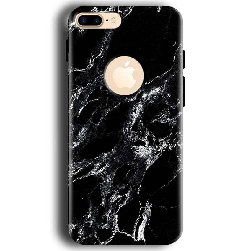 Apple iphone 7 With Apple Cut Mobile Covers Cases Pure Black Marble Texture - Lowest Price - Paybydaddy.com
