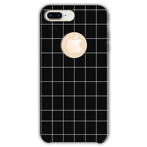 Apple iphone 8 Plus With Apple Cut Mobile Covers Cases Black with White Checks - Lowest Price - Paybydaddy.com