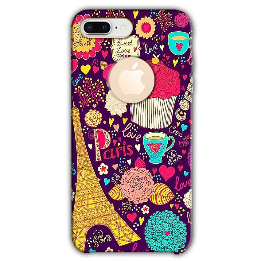 Apple iphone 8 Plus With Apple Cut Mobile Covers Cases Paris Sweet love - Lowest Price - Paybydaddy.com