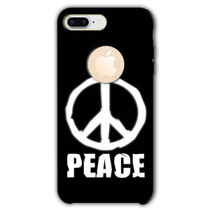 Apple iphone 8 Plus With Apple Cut Mobile Covers Cases Peace Sign In White - Lowest Price - Paybydaddy.com