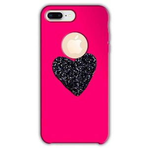Apple iphone 8 Plus With Apple Cut Mobile Covers Cases Pink Glitter Heart - Lowest Price - Paybydaddy.com
